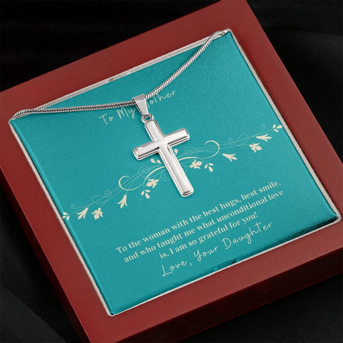 Cross Necklace  Gift To Mother from Daughter | Hug | Faithful Cross Necklace | Gift Necklace with Message Card
