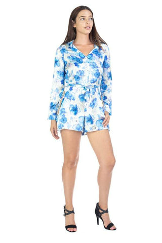 Blue Aphrodite Women's Clothing Faith Off White and Blue Floral Print Romper