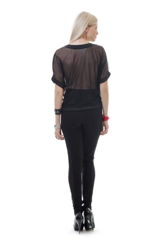 Sheer Back Print Top - The Yarley