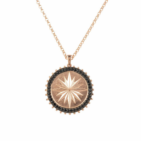 Gold Misty Accessories Moral Compass Star Burst Pendant Necklace Rose Gold - Imported