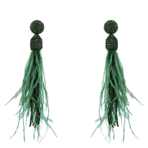 Gold Misty Accessories Tassel Beaded Ostrich Feather Long Earrings Dark Green - Imported