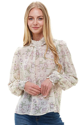 Indigo Arrowwood Women's Clothing Floral Crochet Detail High Neck Long Sleeve Blouse - The Meena