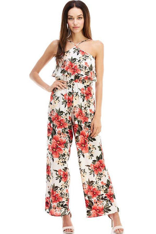 Indigo Arrowwood Women's Clothing Floral Halter Jumpsuit - The Vie