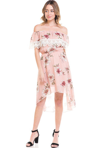 Indigo Arrowwood Women's Clothing Floral Off Shoulder Hi-Low Dress - The Jeana