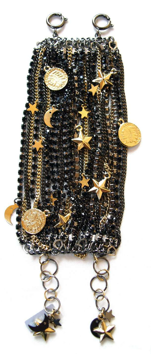 Black Ematite Jet Swarovski Crystals Cuff Bracelet With 18kt Gold Plated Charms.