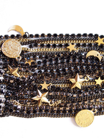 Maiden-Art Jewelry & Accessories - Bracelets & Bangles Black Ematite Jet Swarovski Crystals Cuff Bracelet With 18kt Gold Plated Charms.