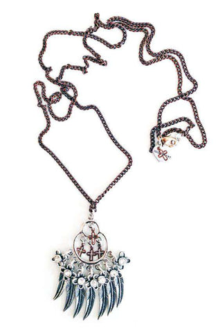 Necklace With Feathers, Crosses, Swarovski Crystals and Charms - The Dahlia - Imported from Europe