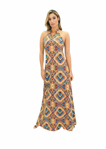 Maroon Missy Women's Clothing Halter Backless Maxi Dress - The Riley