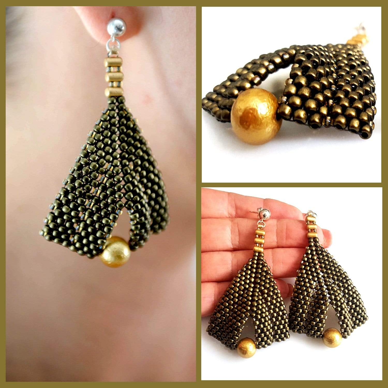 Gold Metallic Suede & Gold Pearl Earrings - Australian Import