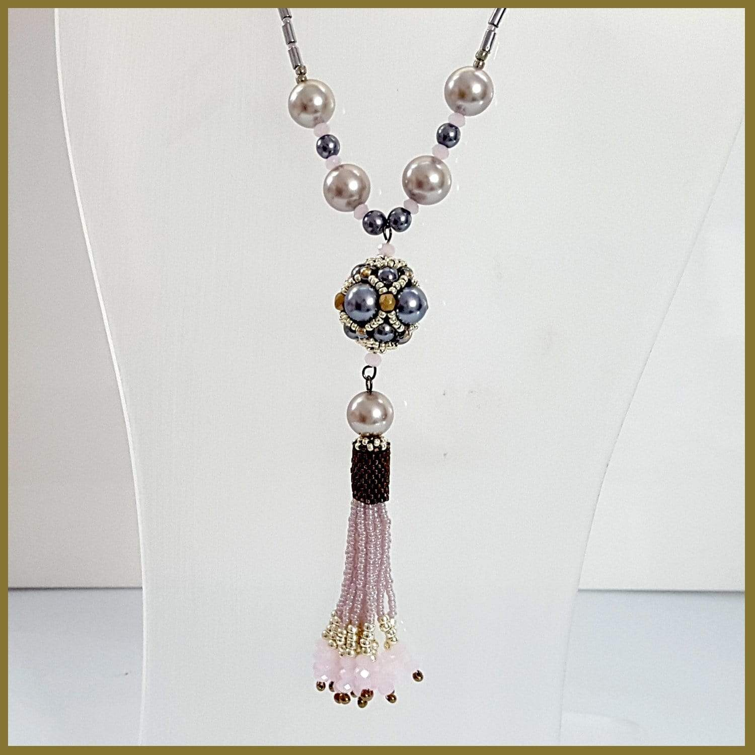 Pink Beaded Tassel Haematite - Imported from Europe