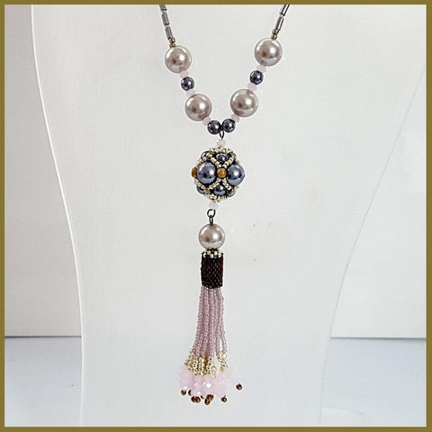 Maroon Smudge Necklaces Pink Beaded Tassel Haematite - Imported from Europe