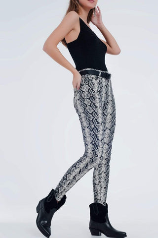 Q2 Women's Fashion - Women's Clothing - Bottoms - Pants & Capris Black Pants With Snake Print - Imported from Europe