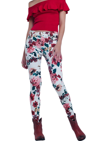 Q2 Women's Fashion - Women's Clothing - Bottoms - Pants & Capris Rose Print White Jeans