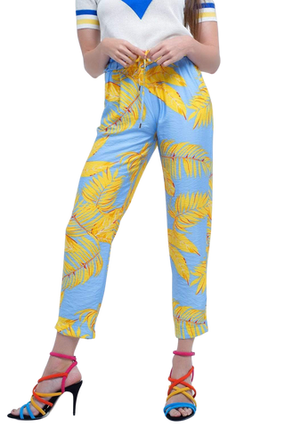 Q2 Women's Fashion - Women's Clothing - Bottoms - Pants & Capris Yellow Pants With Leaf Print and Pockets - Renate