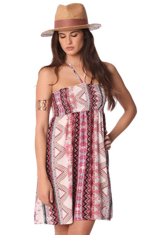 Q2 Women's Fashion - Women's Clothing - Dress Bandeau Boho Chic Dress With Geo-Tribal Print - Imported from Europe