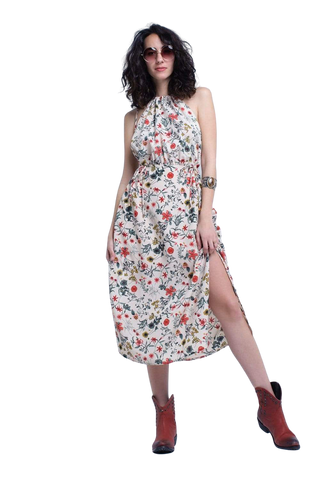 Q2 Women's Fashion - Women's Clothing - Dress Beige Floral High Neck Cut Out Midi Dress - The Kai