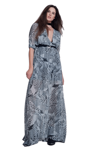 Q2 Women's Fashion - Women's Clothing - Dress Long Dress With Print in Gray