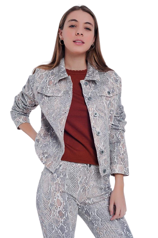 Q2 Women's Fashion - Women's Clothing - Jackets & Coats - Jackets Beige Jacket with Snake Print - The Tia
