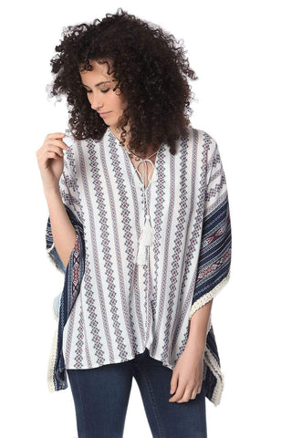 Navy Tribe Print Oversized Poncho Top