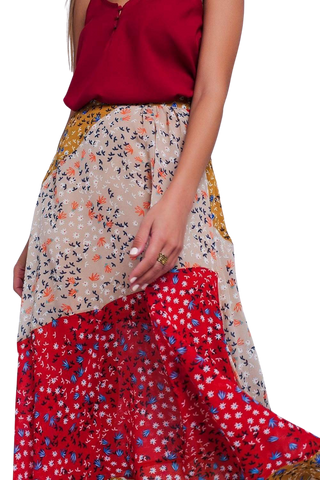 Q2 Women's Fashion - Women's Clothing - Skirt Red Floral Meadow Bias Cut Midi Skirt