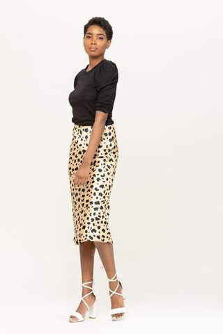 Tan Hephaestus Women's Clothing Abstract Animal Print Satin Midi Skirt - The Lulu