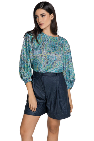 Women's Clothing Bishop Sleeves Blue Paisley Print Top - Ute Violet Azolla
