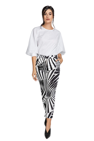 Women's Clothing Black & White Gabardine Pants - Heike Violet Azolla