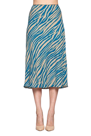 Women's Clothing Teal Animal Print Midi Skirt - The Laki Tan Hephaestus
