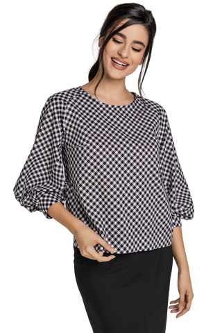 Women's Fashion - Women's Clothing - Blouses & Shirts Black & White Check Top With Bishop Sleeves - The Lena Conquista Fashion
