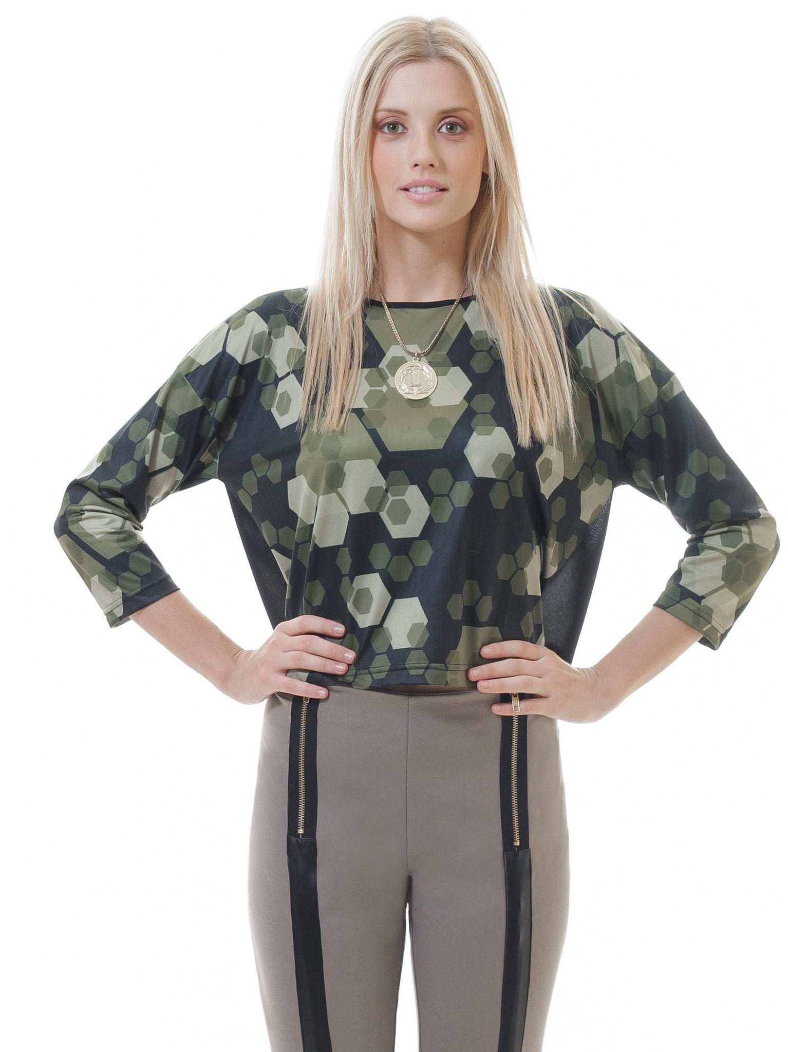 Sheer Back Geo Print Crop Top - The Evelyn