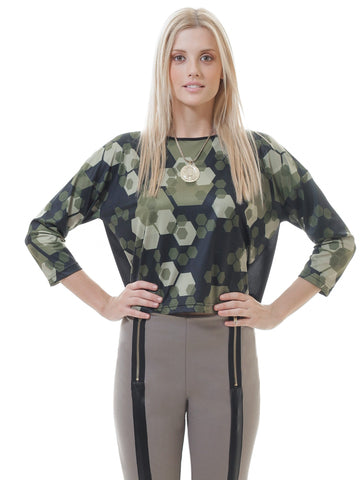 Women's Fashion - Women's Clothing - Blouses & Shirts Sheer Back Floral Print Crop Top - The Evelyn Conquista Fashion