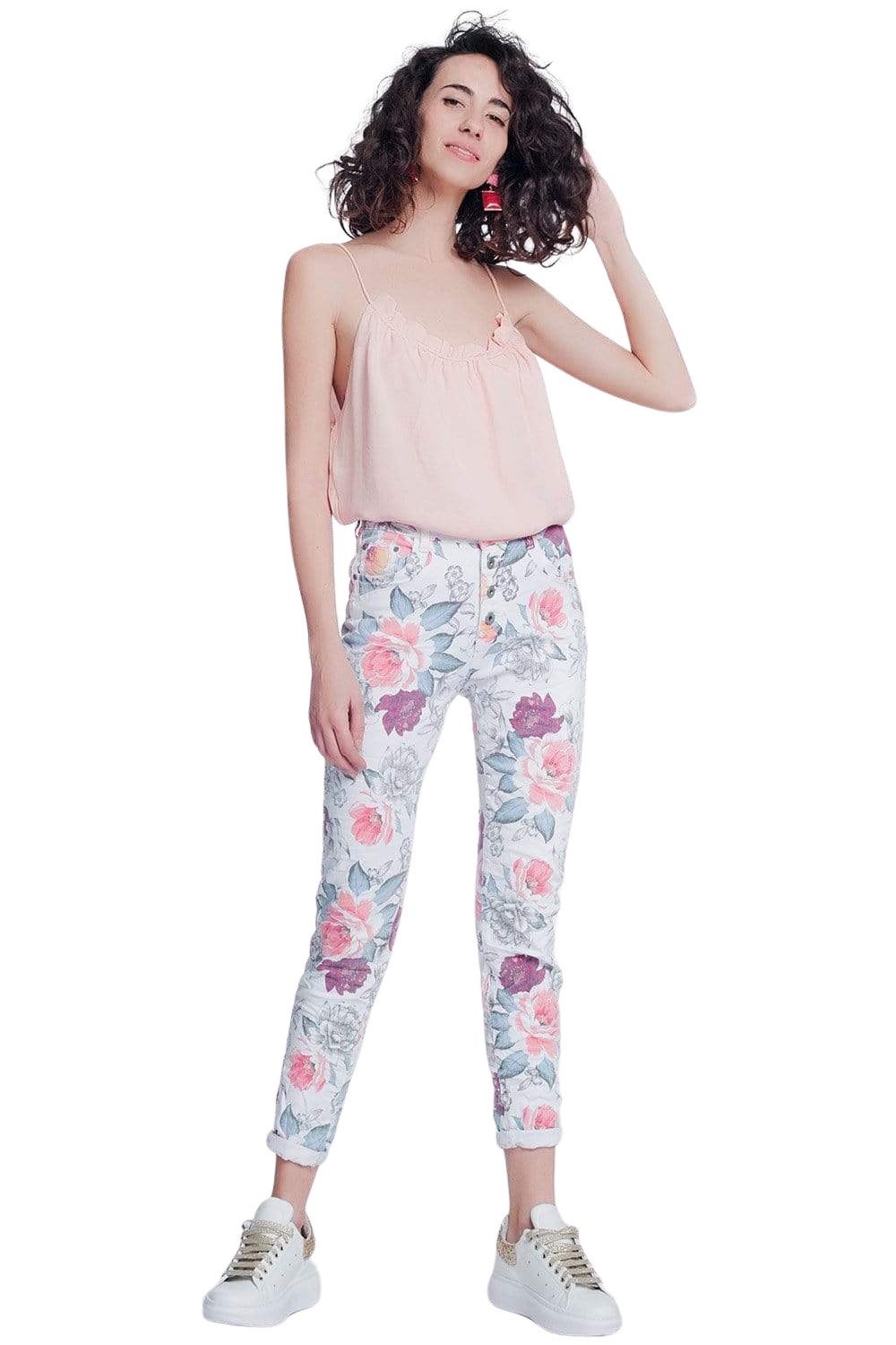 White Boyfriend Jeans With Floral Print - The Willow
