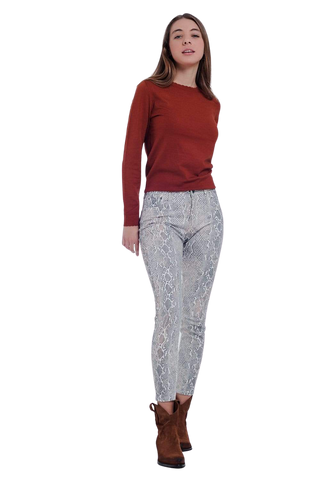 Women's Fashion - Women's Clothing - Bottoms - Pants & Capris Beige Colored Pants With Snake Print - The Tia Q2