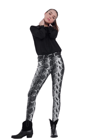 Women's Fashion - Women's Clothing - Bottoms - Pants & Capris Black Skinny Shiny Printed Pants - The Matilda Q2