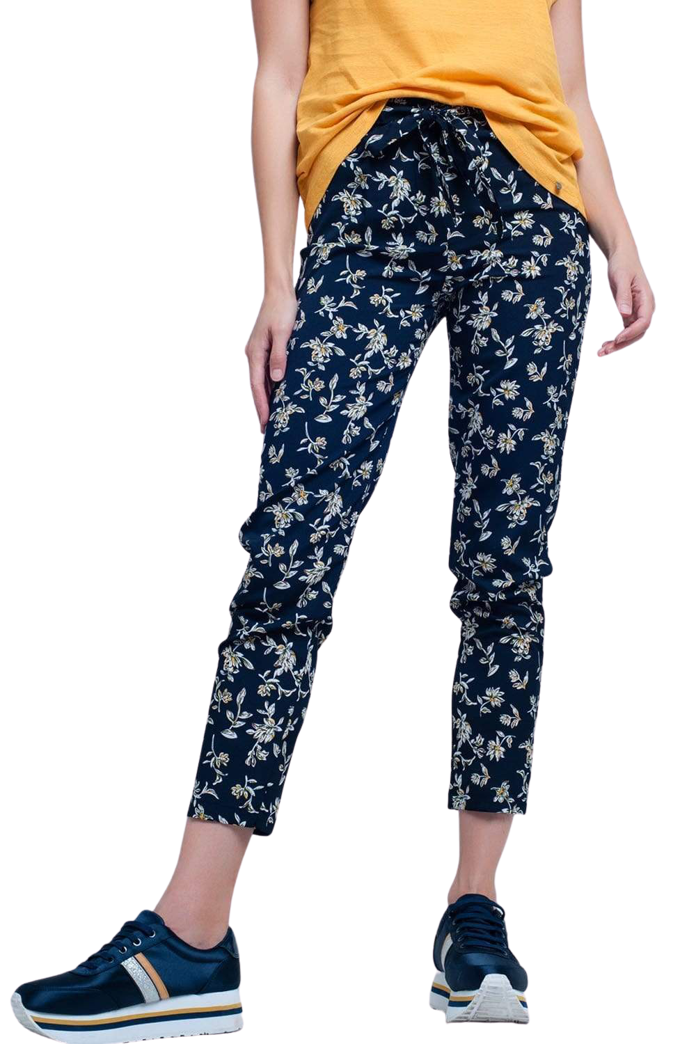 Navy Floral Pants With a Belt - The Maddy