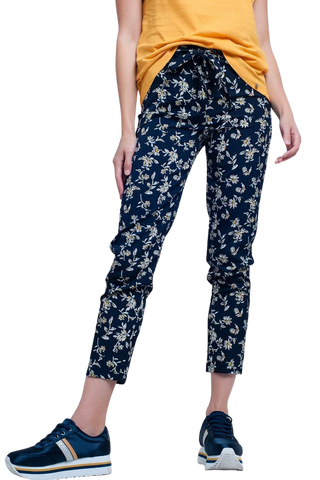 Women's Fashion - Women's Clothing - Bottoms - Pants & Capris Navy Floral Pants With a Belt - The Maddy Q2