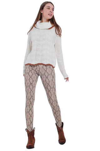 Women's Fashion - Women's Clothing - Bottoms - Pants & Capris Patterned Camel Coloured Pants - Doris Q2