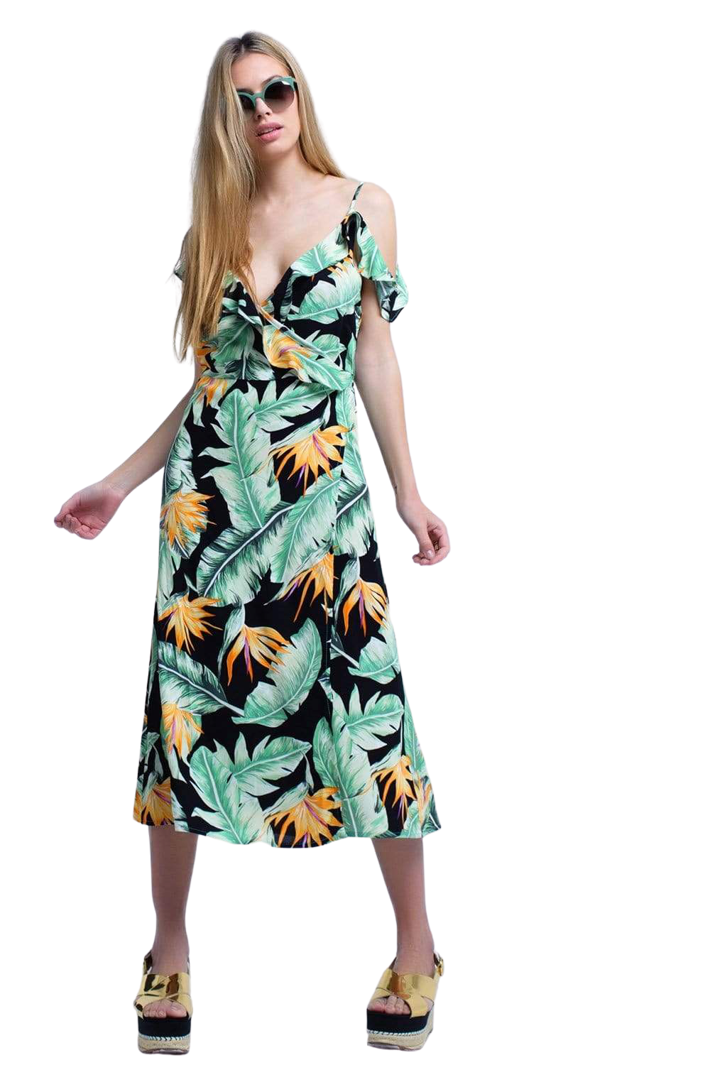 Black Midi Dress in Tropical Leaves - The Golna