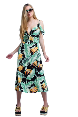 Women's Fashion - Women's Clothing - Dress Black Midi Dress in Tropical Leaves - The Golna Q2
