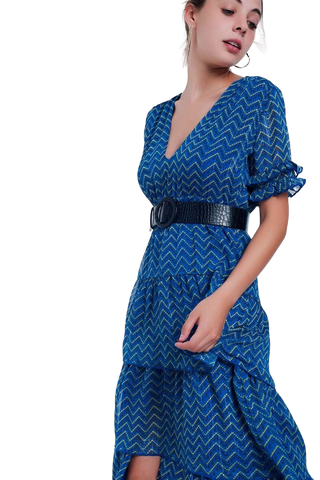 Women's Fashion - Women's Clothing - Dress Blue Tiered Maxi Dress - The Laylana Q2