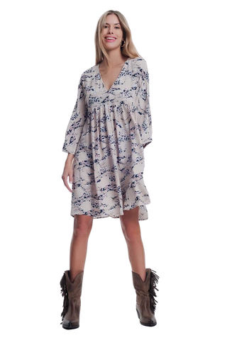 Women's Fashion - Women's Clothing - Dress Floral Print Beige Dress - The Aamori Q2