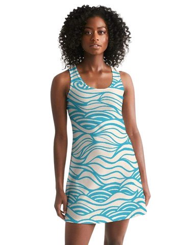 Women's Fashion - Women's Clothing - Dress Women's Waves Casual Racerback Dress - The Mala Find-Your-Coast Apparel