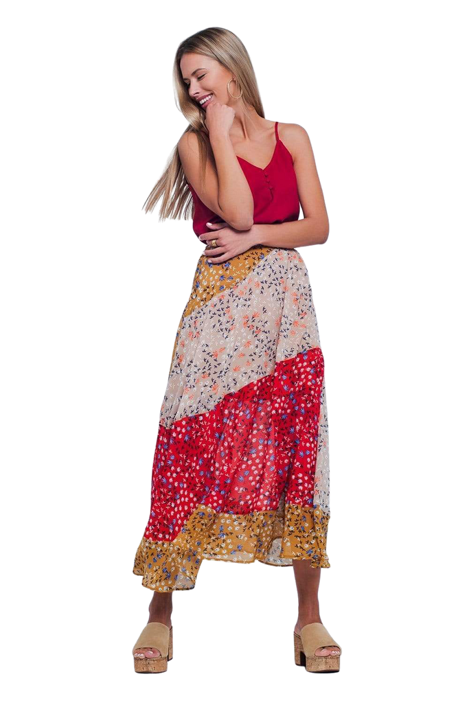 Women's Fashion - Women's Clothing - Skirt Red Floral Meadow Bias Cut Midi Skirt Q2