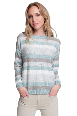 Women's Fashion - Women's Clothing - Sweaters - Pullovers Round Neck Sweater in Green With Stripes and Long Sleeves - The Yuvia Q2