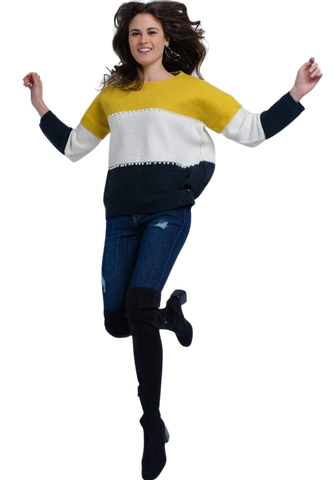 Women's Fashion - Women's Clothing - Sweaters - Pullovers Yellow Knitted Sweater With Pearls - The Amelia Q2