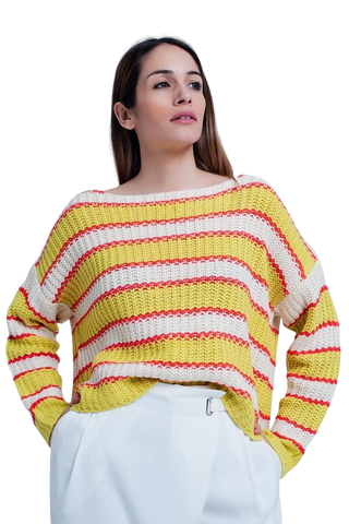 Women's Fashion - Women's Clothing - Sweaters - Pullovers Yellow Striped Rib Stitch Knitted Sweater -The Jenna Q2