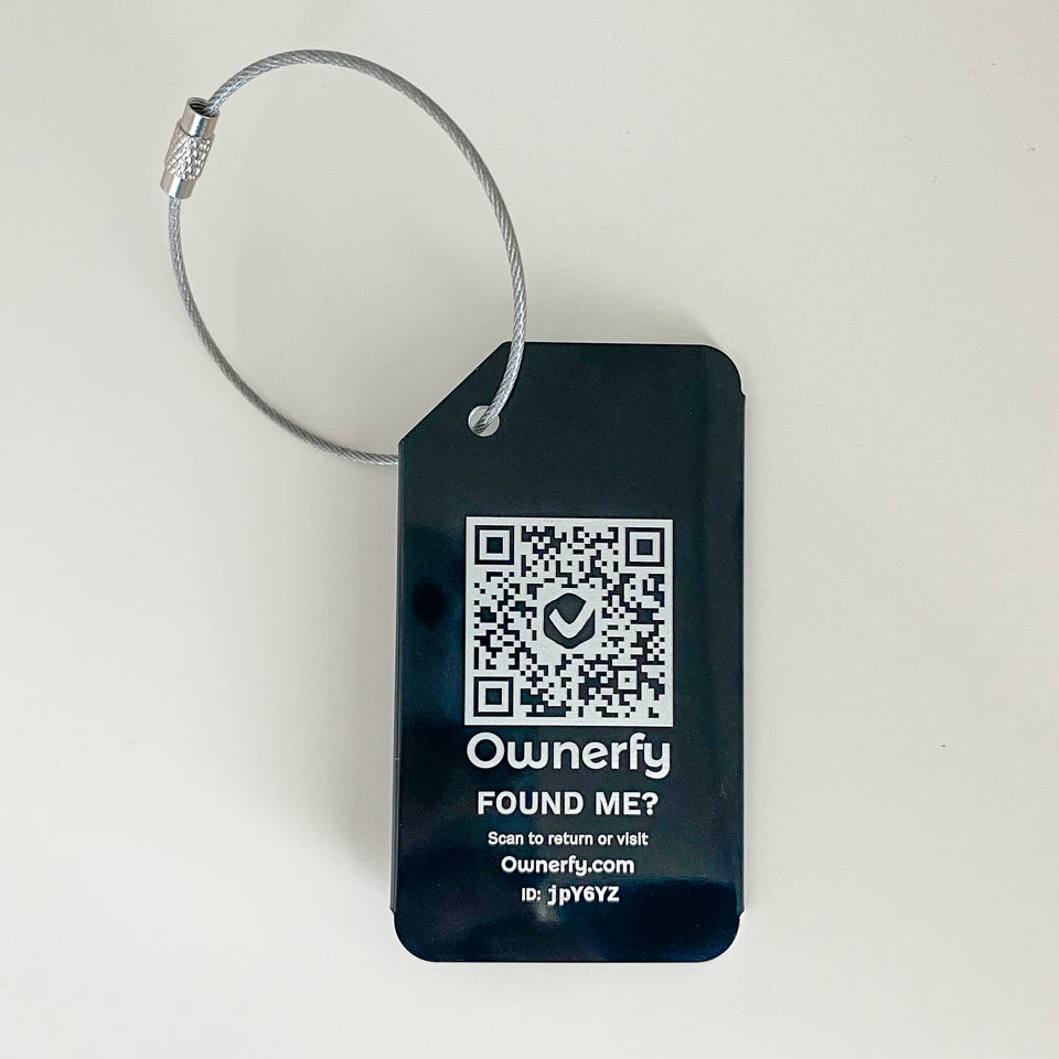 Laser Engraved QR Code Dynamic Contact Luggage Tag with Privacy Guard