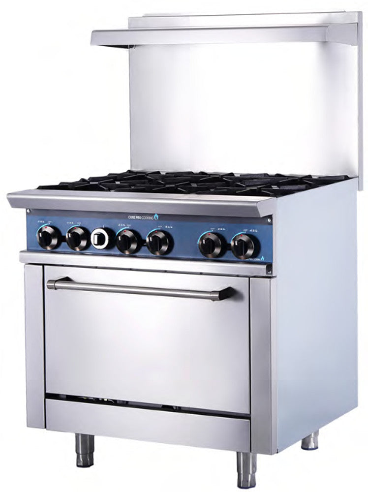 "CP-R36 Core Pro Cooking ** 36"" 6 Burner Range, Static Oven w/2 Racks"