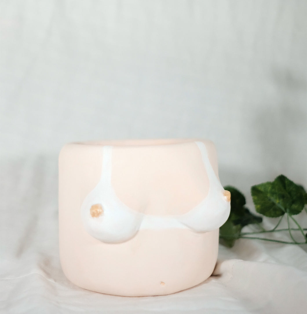 Boob POT with White Tan line #2 - PLUS SIZE