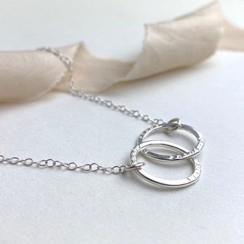 The Laurel Personalised Necklace - personalised interlinking hoops - hand stamped monogram and name necklace gift